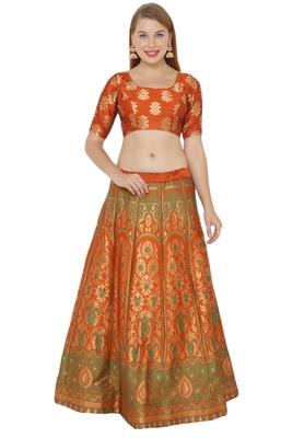 Orange self design art silk semi stitched lehenga