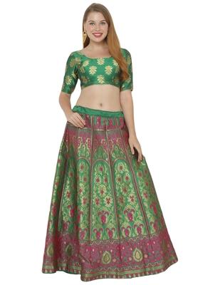 Green self design art silk semi stitched lehenga