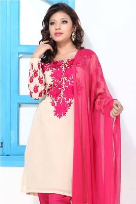 Almond and Pink Embroidery Short Georgette suit