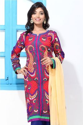 Fuchsia Pink Faux Georgette embroidery straight suit