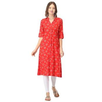 Red printed rayon kurtas-and-kurtis