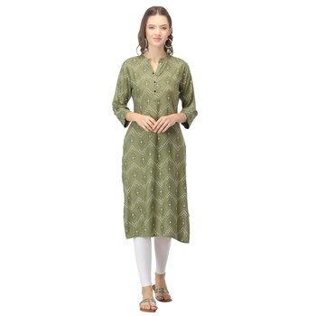 Green printed rayon kurtas-and-kurtis