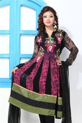 Black and Pink faux georgette printed suit