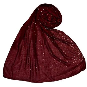 Designer Due Drop Diamond Studed Cotton Hijab Maroon