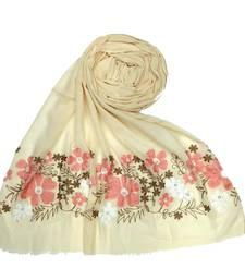 Designer Flower Cotton Stole  Cream
