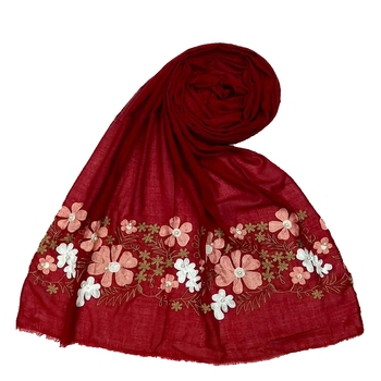 Designer Flower Cotton Stole Maroon