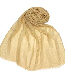 Stole for Women Choice  Mesh Pleated Crinkled Stole  Golden
