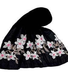 Most Sold  Premium Designer Flower Ari Diamond Cotton Stole Black