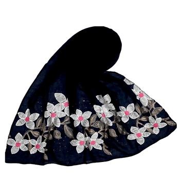 Most Sold  Premium Designer Flower Ari Diamond Cotton Stole Blue
