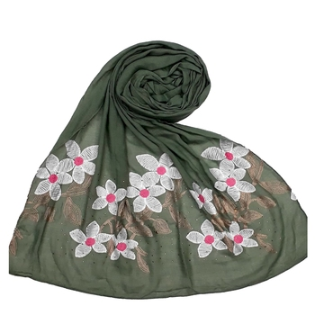 Most Sold  Premium Designer Flower Ari Diamond Cotton Stole Green
