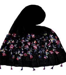 Stole for Women Choice  Premium Diamond Ari 100 % Cotton Women's Stole  Black