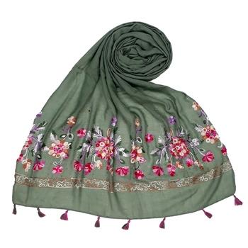 Stole for Women Choice  Premium Diamond Ari 100 % Cotton Women's Stole  Green