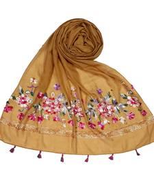 Stole for Women Choice  Premium Diamond Ari 100 % Cotton Women's Stole  Yellow