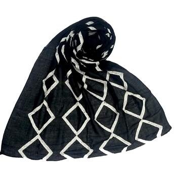 Premium Cotton  Designer Zic Zac Grid Hijab  Black