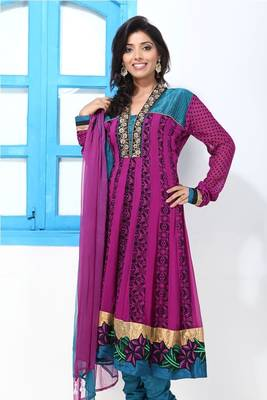 Purple and Blue faux georgette Anarkali Suit