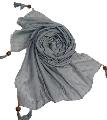 Designer Cotton Puff Checkered Stole's  Grey