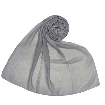 Cotton Dew Dew Drop Diamond Studed All Over Stole  Grey