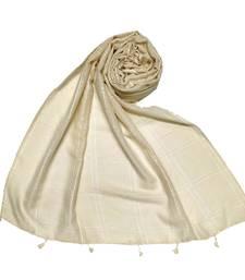 Hand Work White Threaded Grid Hijab  Cream