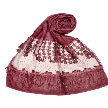 Premium Cotton Designer Diamond Studed Hijab With Fringe's and Flower  Maroon