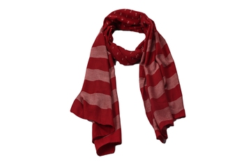 Premium Rich Cotton   Double Sided Striped Liner Hijab With Exclusive Fringe's  Maroon