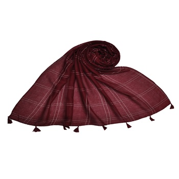 Designer Elegant Big Box Checkered Hijab With A Touch Of Cotton   With Exclusive Multiple Fringe's  Maroon