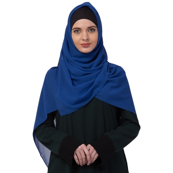 Premium Rich Chiffon   Best For All Season's  Hijabs That Don't Slip  Premium Plain Chiffon Hijab  Blue