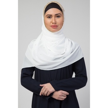 Georgette   Diamond Studed All Over The Hijab  Gold Diamond Over The Side's Of The Hijab  White