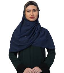 Georgette   Diamond Studed All Over The Hijab  Gold Diamond Over The Side's Of The Hijab  Blue