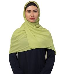 Georgette   Diamond Studed All Over The Hijab  Gold Diamond Over The Side's Of The Hijab  Green