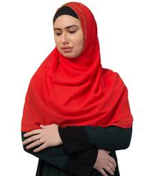 Georgette   Diamond Studed All Over The Hijab  Gold Diamond Over The Side's Of The Hijab  Red