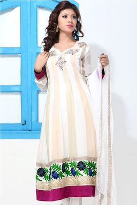 Pastel shades embroidery faux georgette suit