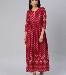 Maroon woven rayon ethnic-kurtis