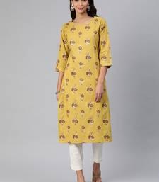 Mustard woven cotton cotton-kurtis