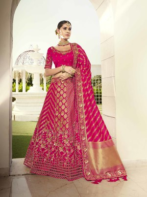 Rani-pink embroidered jacquard semi stitched lehenga