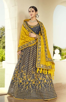 Dark-grey embroidered jacquard semi stitched lehenga