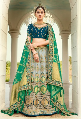 Grey embroidered jacquard semi stitched lehenga