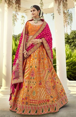 Orange embroidered jacquard semi stitched lehenga