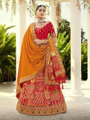 Red embroidered jacquard semi stitched lehenga