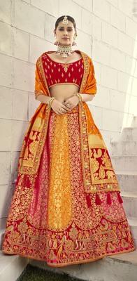 Multicolor embroidered jacquard semi stitched lehenga