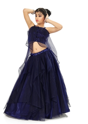 Kids Blue Net With Satin Lehenga Choli