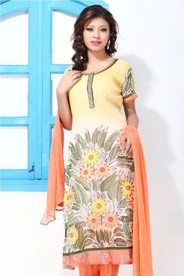 Faux Georgette  Light Yellow And Orange Painted Suit