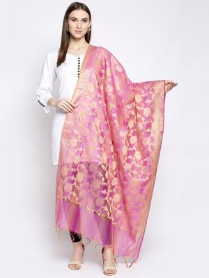 Aujjessa Pink Gold Banarasi Dupatta