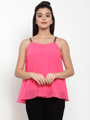 Pink plain georgette party-tops