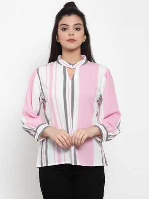 White printed crepe party-tops