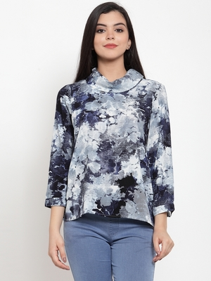 Navy-blue printed crepe party-tops
