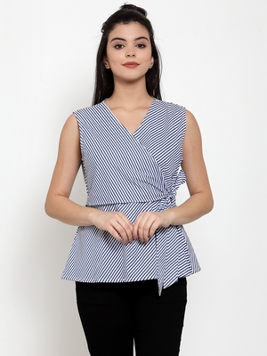 White printed cotton party-tops
