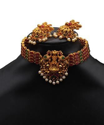 Antique Gold Choker Stone Studded necklace sets