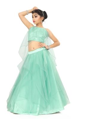 Girls Sky Blue Lehenga Choli For Weding Wear