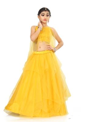Kids Yellow Net With Satin Lehenga Choli For Girls
