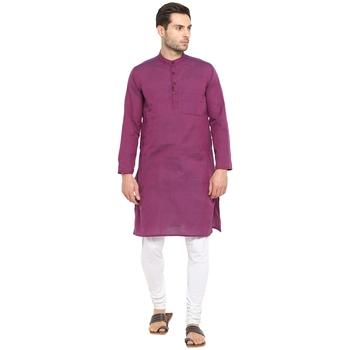 Purple Plain Cotton Long Kurta